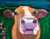 Cow Art Print, Down the Road in Violet