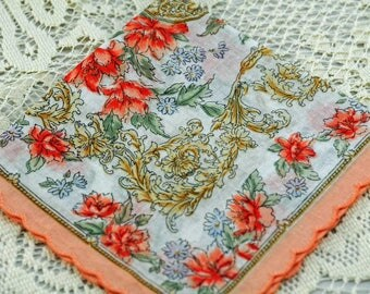 Vintage Hankie, Lush and Rich Colors and Pattern  #A-11