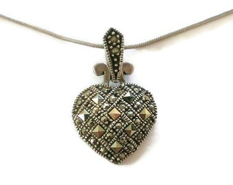 Vintage Sterling Silver Marcasite Heart Necklace