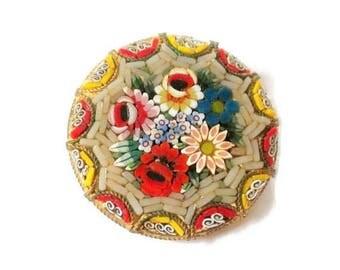 Vintage Micromosaic Floral Pin / Brooch
