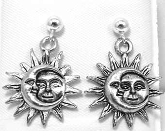 Pewter Sun and Moon Charms on Sterling Silver Ball Post Stud Earrings - 0177
