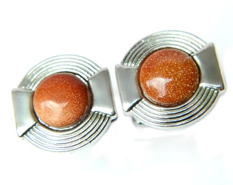 Copper Glitter Goldstone Cufflinks Art Deco Modern Style Vintage Accessory For Men Silver Suit And Tie Formal Casual Gift For Men