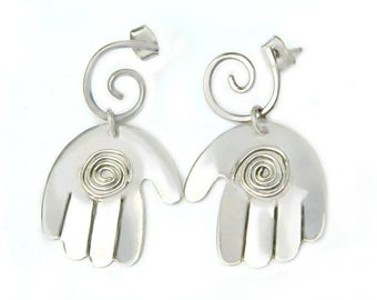 Sterling Silver Spiral Hand Earrings Vintage Celtic Greek Infinity Symbol of Constant Motion, Balance, Awareness, and Expansion