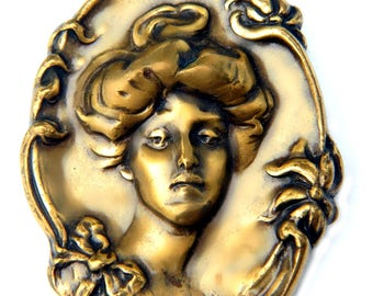 Art Nouveau French Edwardian Brass Gibson Lady Brooch Vintage 1940s Metal Cameo Portrait Jewelry Gift For Women Raised Portrait Pin