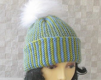 Slouchy Beanie Hand Knit Pom Pom Hat Womens Slouchy Beanie Green and Blue Slouchy Knit Hat Winter Accessories