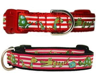 "Dinosaur & Alligator 3/4"" Black Dog Collar"