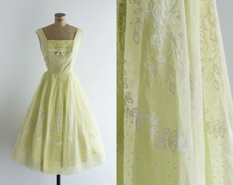 1950s Dress - Vintage 50s Lemon Yellow Lime Green Party Dress Flocked - Gin Rickey Dress