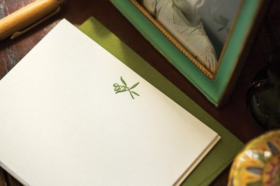 Flat Card Set with Letterpress Olive Branch