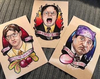The Office 3 x a5 Print Set - Dwight, Michael & Jim