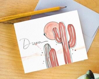 Watercolor Greeting Card. Inspirational Cards. saguaro art. Dream quote. Watercolor Stationery. Cacti watercolor. Arizona Cards. cacti art