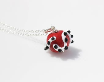 Red and Black Necklace // Unique Necklaces for Women // Lampwork Pendant // Lampwork Necklace // Glass Necklace // Glass Pendant