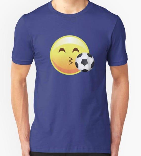 Kissy Face Soccer Emoji Emoticon Graphic Sports Tee Shirt