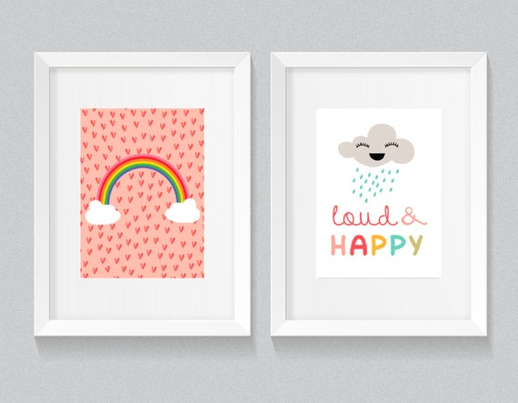 Set of 2 Rainbow Pink Hearts and Happy Cloud Little Baby Girl Nursery Playroom Print Set - Digital Instant Download/Customizable - Just ask