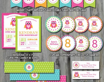 Owl Party Pack, Self Editable, INSTANT DOWNLOAD, Birthday Printable, Baby Shower, Party Labels, Banner, Party Template, Owl Decorations