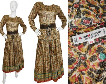 Yves Saint Laurent YSL 1970s Vintage Evening Suit Metallic Gold Lame Pleated Skirt Blouse US Size 4-6 XS-Small