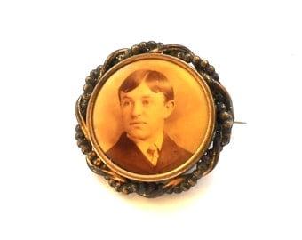 Antique Edwardian Gentleman Portrait Pin