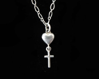 Tiny Vintage French Heart Cross Necklace