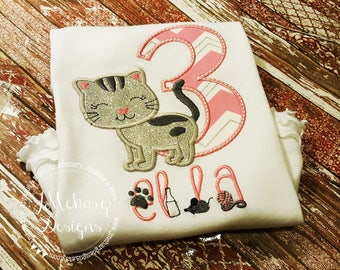 Kitten Monogram - Kitty Birthday Applique shirt - Customizable -  Infant to Youth 7