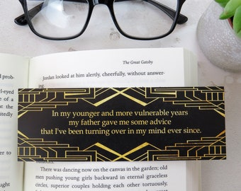 The Great Gatsby Bookmark - First and Last Line Bookmark set - Gift for Readers and Book Lovers- Book Mark  - F Scott Fitzgerald Quote