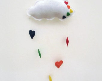 Cloud Mobile,Rainbow Baby,Wall Decor,Felt Mobile,Nursery Decor,Children Room,Hanging Clouds,Children Gifts