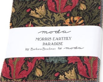 "MORRIS EARTHLY PARADISE Charm Pack from Moda - (42) 5"" factory-cut fabric squares - 8330PP"