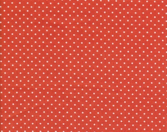 White Swiss Dots on Orange Fabric - Polka Dot Fabric - Orange Fabric - Orange Swiss Dots - Riley Blake