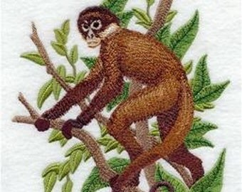 Black-Handed Spider Monkey Embroidered Towel | Flour Sack Towel | Linen Towel | Dish Towel | Kitchen Towel | Hand Towel | Embroidery |