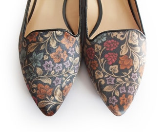 Velvet flat shoes with flowers pattern, Boho shoes, Flat shoes, Ballerina shoes, Women shoes, Leather shoes, Designer shoes, Retro shoes