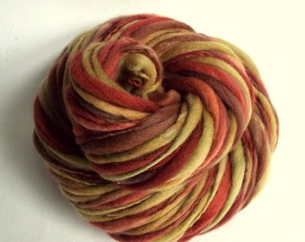 Thick and Thin yarn, Autumn reds, pale olive green and mustard yellows, knitting yarn, chunky merino knitting wool, big knitting wool