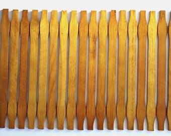 Vintage Wood Slat Placemat or Large Trivet Can Be Rolled Up
