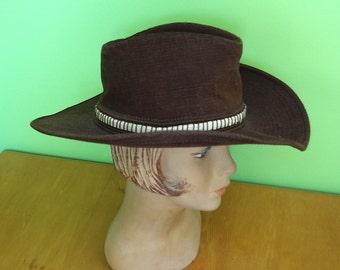 Vintage 1970s Levi Strauss Wide Brim Western Cowboy Hat Dark Brown Corduroy Size 7-1/8 Union Made