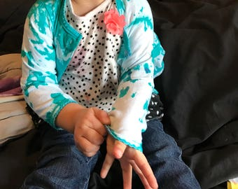 Upcycled - tye dye baby cardigan, infant top size 18 months, teal