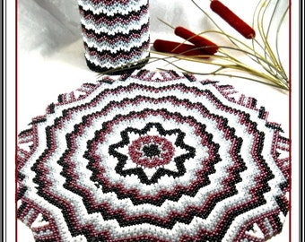 pattern bead weaving doily and pencil pot zog-zag