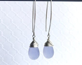 Faceted Periwinkle Chalcedony Sterling Dangle Earrings