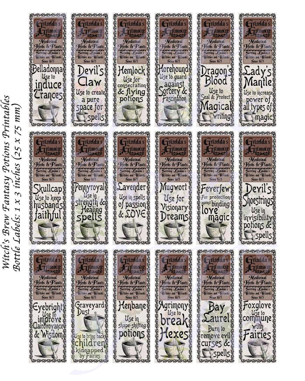 Favori Etichette delle bottiglie di Herbology, ingredienti di pozioni  GY87