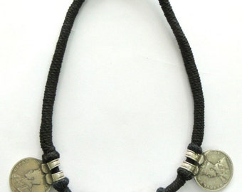 Vintage Antique Ethnic Tribal Old Silver Jewelry Coin Necklace India
