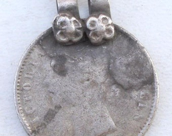 Ancient Tribal Old Silver Queen Victoria Coin Pendant india
