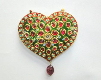 Vintage antique solid 18K Gold jewelry Gemstones enamel Pendant amulet necklace