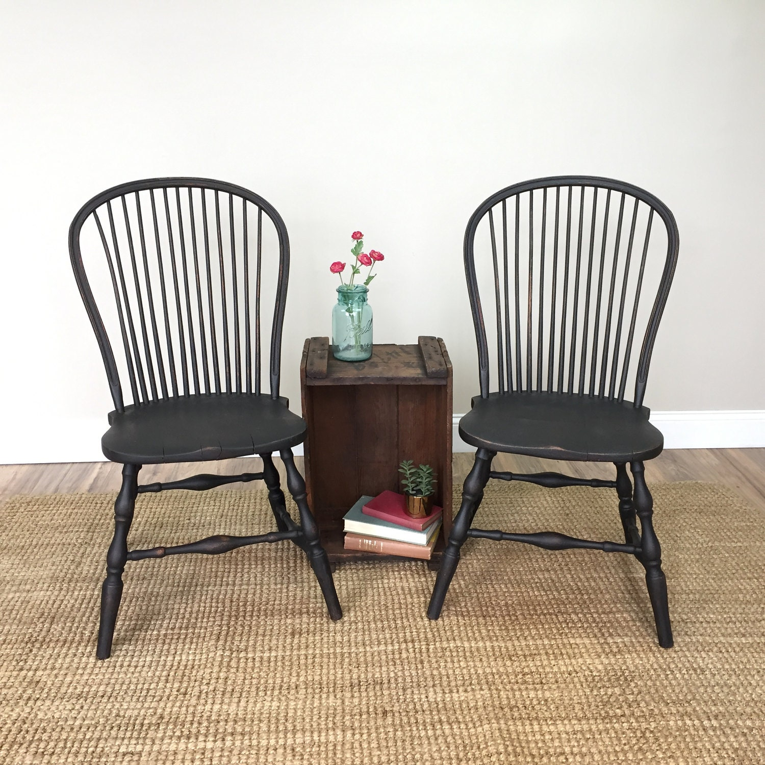 Black farmhouse chairs - Black Windsor Chairs Farmhouse Dining Chairs Antique Wooden Chairs Spindle Chair Country Cottage Furniture Fixer Upper Style