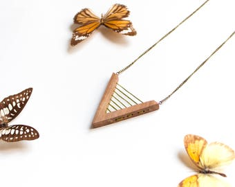 Handmade eco wooden necklace Triangle green embroidery thread Organic vegan geometric natural wood Minimalist jewelry natural gift boho chic