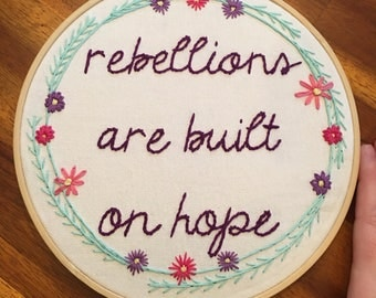 Star Wars Rogue One Embroidery, Jyn Erso Art Work, Star Wars Art Work, Star Wars Quote, Rebellions Are Built on Hope, Star Wars Stitch