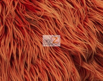 "Solid Mongolian Faux Fur Fabric - RUST - Sold By The Yard 60"" Width Costumes Accessories Clothing"