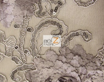 Cherry Blossom 3D Dress Lace Fabric - CHARCOAL - Sold By The Yard Prom Evening Dress Lace Decor Accessories Flowers