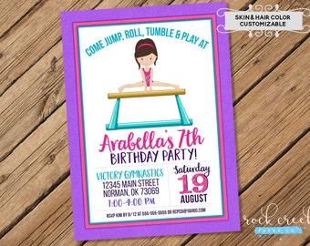 Gymnastics Invitation, Gymnastics Birthday, Tumbling Party, Gym Birthday, Gymnast Birthday Party, Printable Birthday Party Invitation