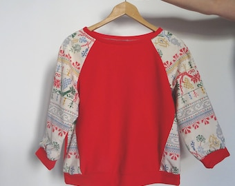 Red printed sweater