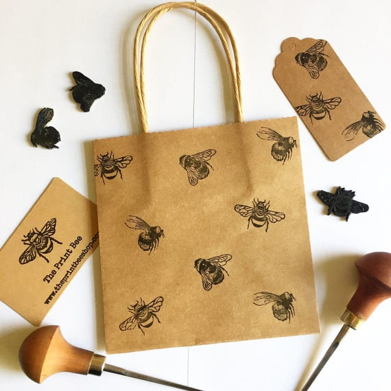 Mini Bumble Bee Gift Bag With Tag Small Kraft Paper Bag