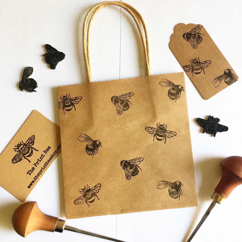 mini bumble bee gift bag with tag small kraft paper bag