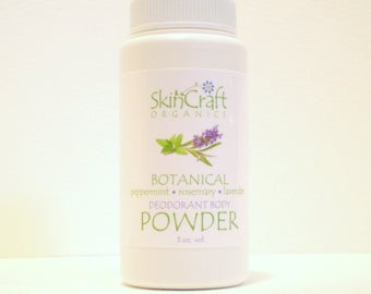 Natural Botanical Deodorant Powder -  Bath Powder -  Foot Powder - Peppermint - Rosemary - Lavender - Tea Tree - Gym  / Travel -  3 oz vol