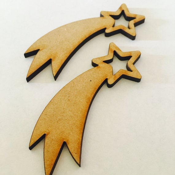 Lasercut Craft Wood Shooting Stars. Set of 2. 60mm Wide Shooting Stars. Made of Craft Wood Perfect for Embellishing, Crafts, Scrapbooking