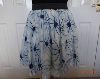 Handmade blue floral elasticated waist skirt skater quirky 18 L Rockabilly summer